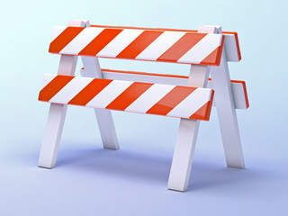 Orange roadworks barrier