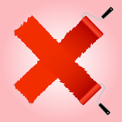 Red cross symbol from paint roller brush