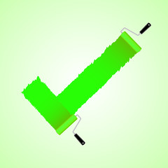 Green check symbol from paint roller brush