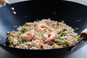 Phad Thai - stir-fried rice noodles with prawns