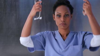 Healthcare worker. Portrait of young female nurse.