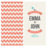 wedding invitation card with backround chevron