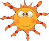 The cheerful sun. Cartoon