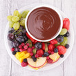 chocolate sauce and assorted of fruits