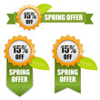 Sping offer 15 percent off buttons yellow