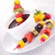 fruit skewer and chocolate