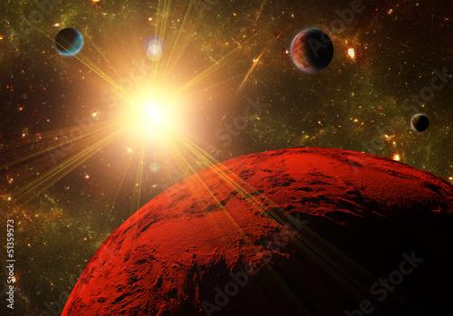 Widok planety, księżyce i przestrzeń głębokiego. Abstract illustratio