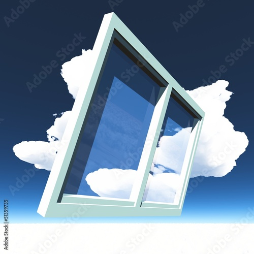 Window of opportunity overlooking blue sky and beautiful summer