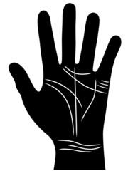 Infografik zum Thema Handlesen: Hand mit relevanten Handlinien