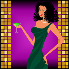 A beautiful girl with a cocktail on a bright background