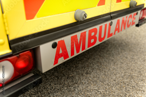 Ambulance car from behind sign