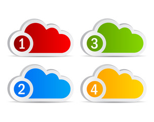 Numbered cloud labels, vector illustration