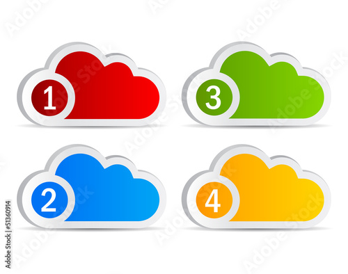 Numbered cloud labels, vector illustration