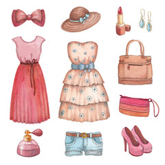 Collection of watercolor dresses and accessories