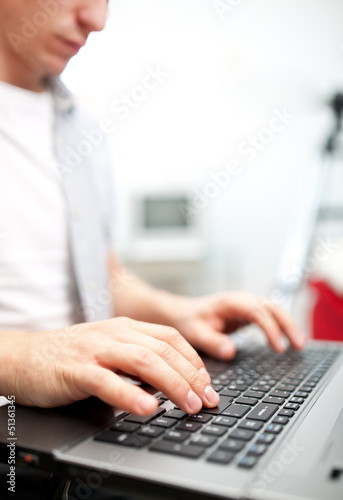 Man working on the laptop at home