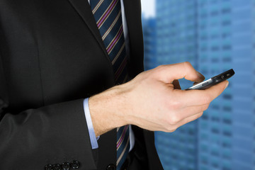 Businessman using a touchscreen device