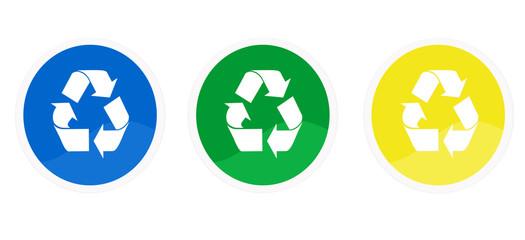 Iconos de reciclaje en colores azul, verde y amarillo