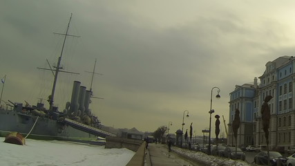 Cruiser Aurora and Nakhimov school in St. Petersburg