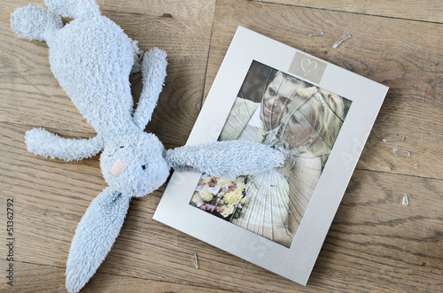 concept of divorce, broken photo frame marriage