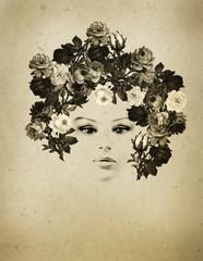 ritratto vintage di donna con rose nei capelli