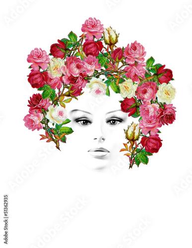ritratto di donna con rose vintage