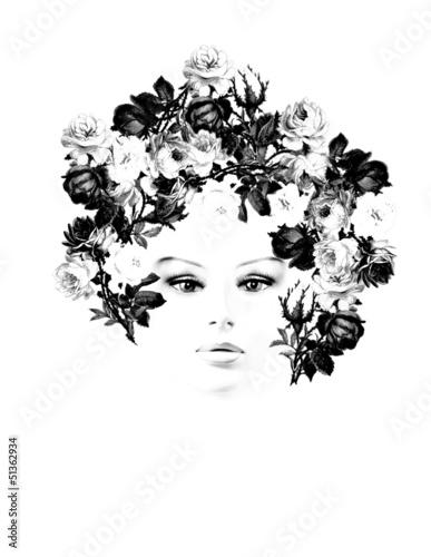 ritratto di donna con rose nei capelli