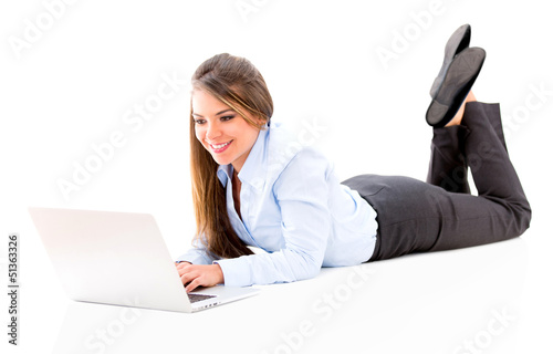 Business woman lying on the floor