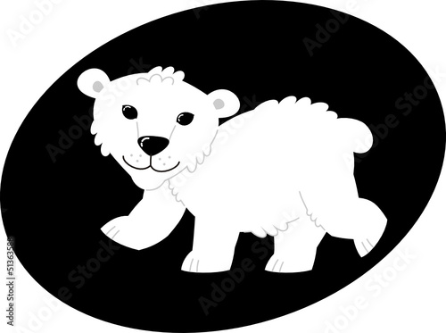 bear – vector illustration, polar bear in the zoo