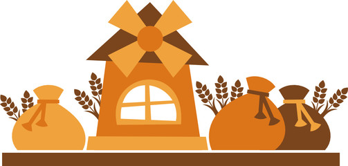 mill grain - vector illustration, windmill and bags of flour