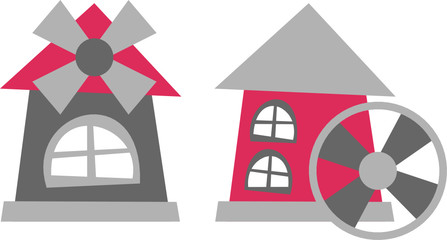 mill – vector illustration, mill tower and water mill