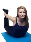 beautiful young woman yoga exercise the bow - isolated