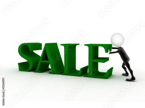big green 3d letters forming the word SALE - 3d rendering illust