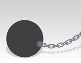 Large ball and chain with shadow