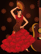 Flamenco spanish dancer girl and guitar, vector