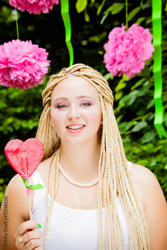 Summer girl portrait. beautiful girl.  Sweet candy girl