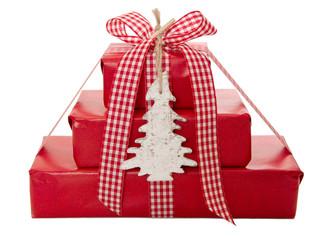 Rote Weihnachtsgeschenke isoliert