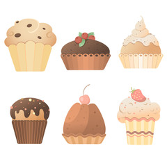 Delicious sweets: a set of cards with muffins