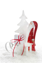 Weihnachtskarte in Rot & Weiß mit Weihnachtsmann