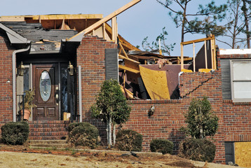 tornado damaged house