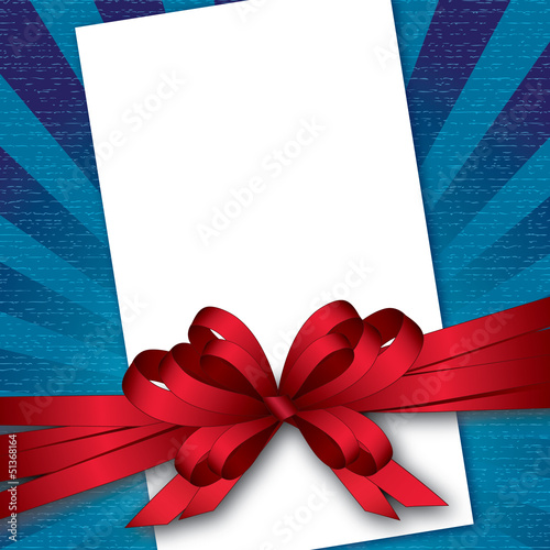card with bow and textured background