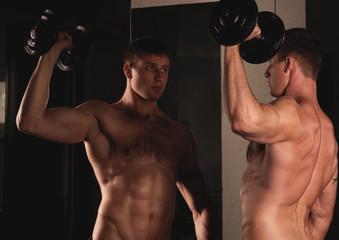 Sexy male fitness model. Fashion portrait