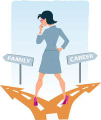 Woman choosing between family and career