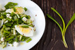 spring salad with fresh herbs and eggs