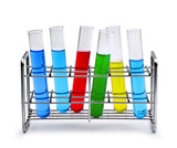 laboratory test tube rack with liquid samples