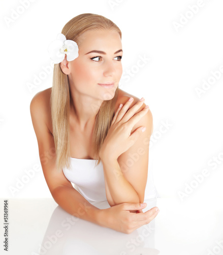 Blond woman at spa