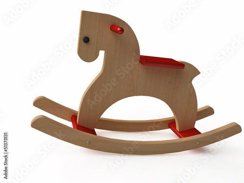 Handmade Vintage Wooden Rocking Horse in 3d
