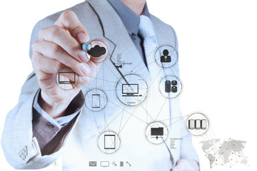 Businessman hand working with a Cloud Computing diagram