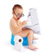 Surprised boy with newspaper, sitting on potty