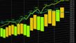 Ecran croissance financière vert jaune