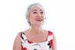 Gesicht einer älteren Frau mit grauen Haaren